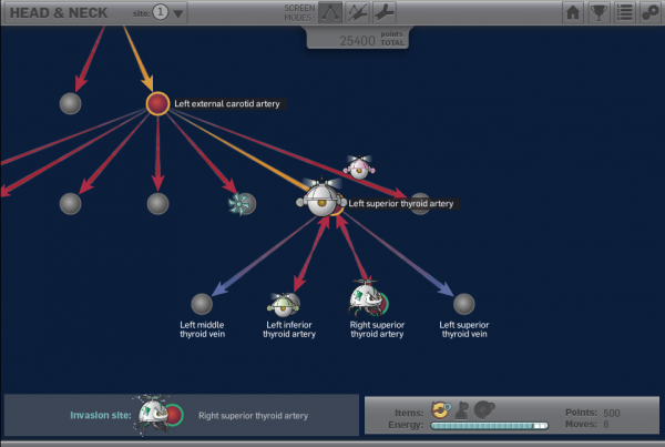 Vascular Invaders screenshot: player attempts to complete a vascular sequencing task without the help of a 3D model