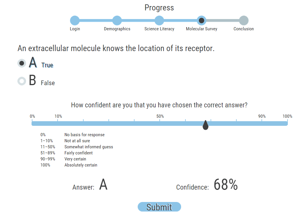 Screen capture of an online adaptive multiple choice test: