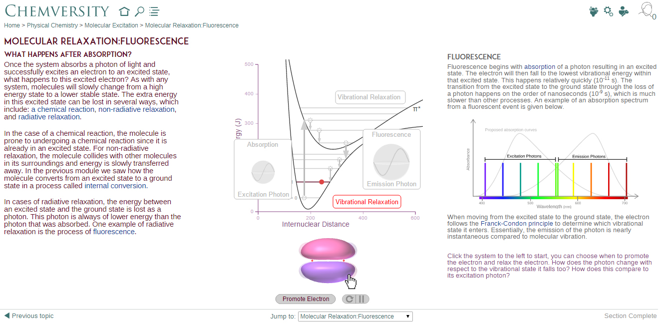 Chemiversity screenshot of molecular relaxation: Fluorescence module